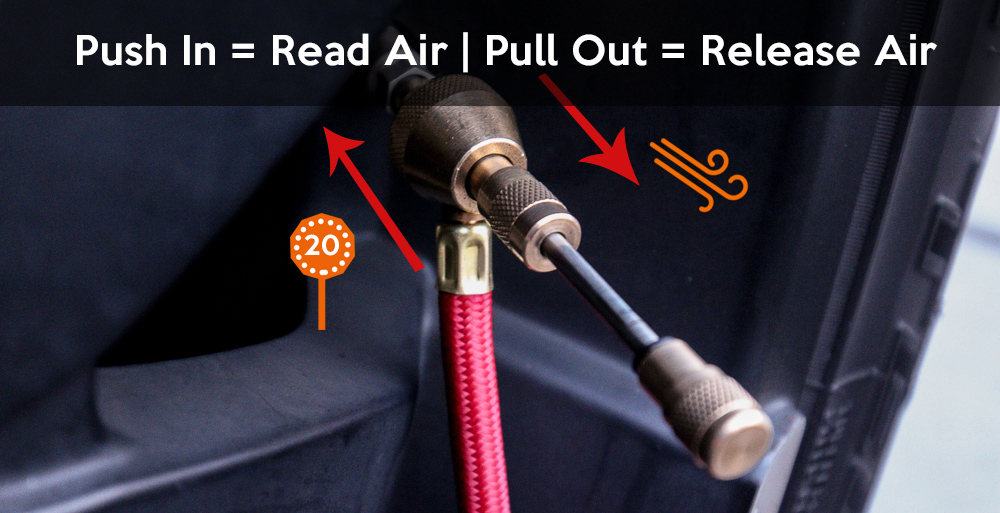 Push in to Read Air & Pull Out is Release Air