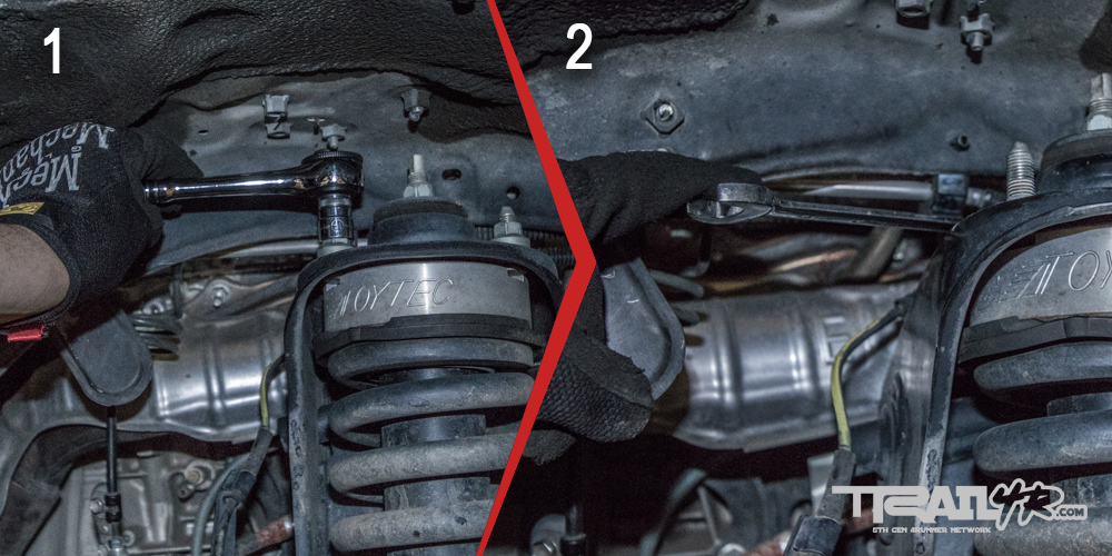 Icon Install Step 11: Remove Three Bolts from Coilover Housing