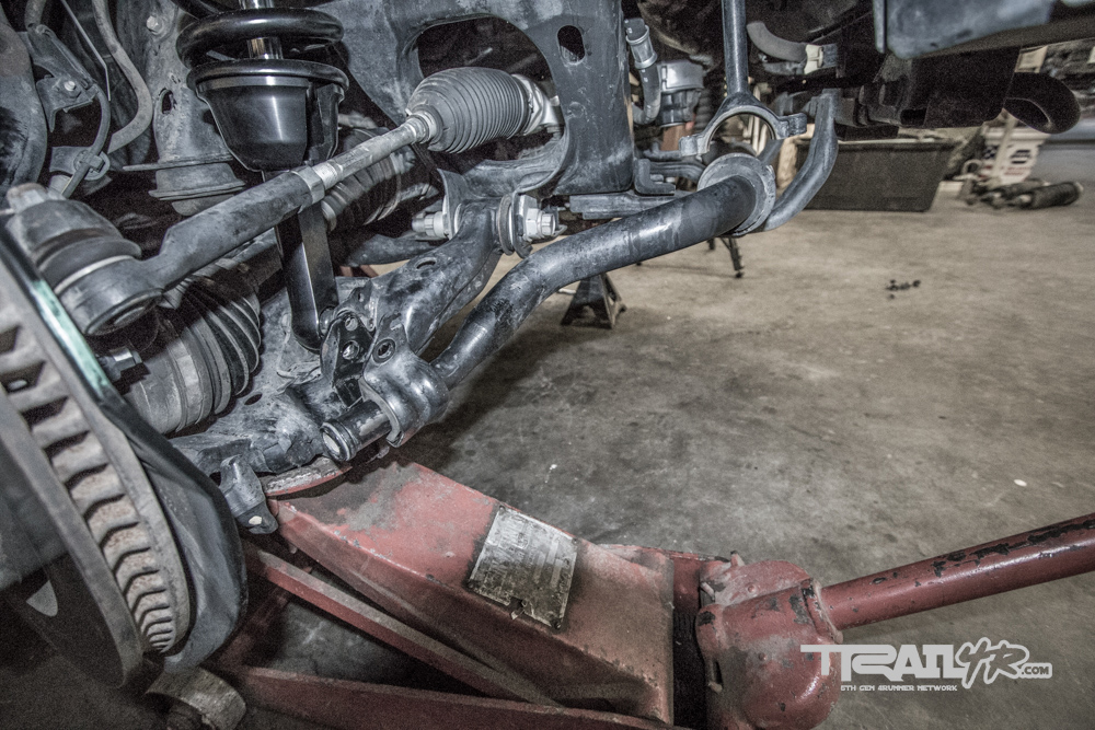 Icon Install Step 16: Jack Lower Control Arms Into Place & Bolt in Coilovers