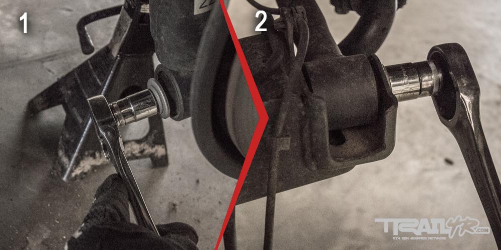 Icon Rear Step 2: Unbolt lower Shock Nut & Unbolt KDSS