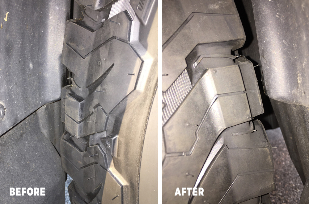 Before & Fender Liner Mod (with the wheel at rubbing spot)