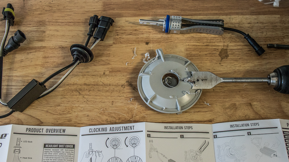 Low Beam (H11 Bulb) Install - Step #5: Drill Hole in Dust Cap