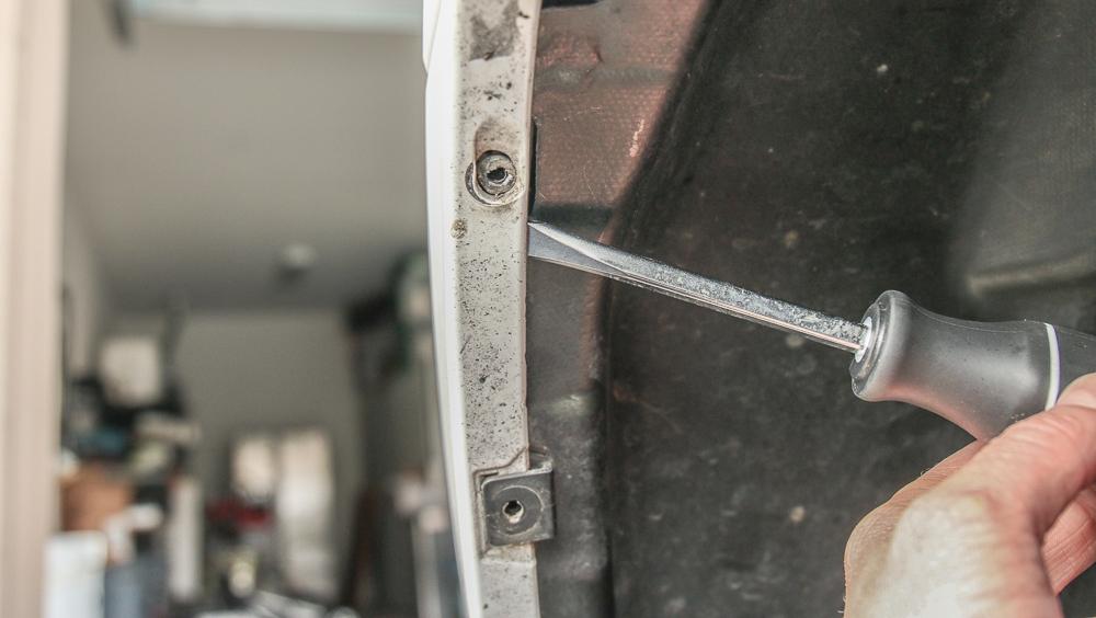 LED Fog Light Bulb (H16) Install Step #3 - Pop Tabs on Top Fender Liner (Gently)