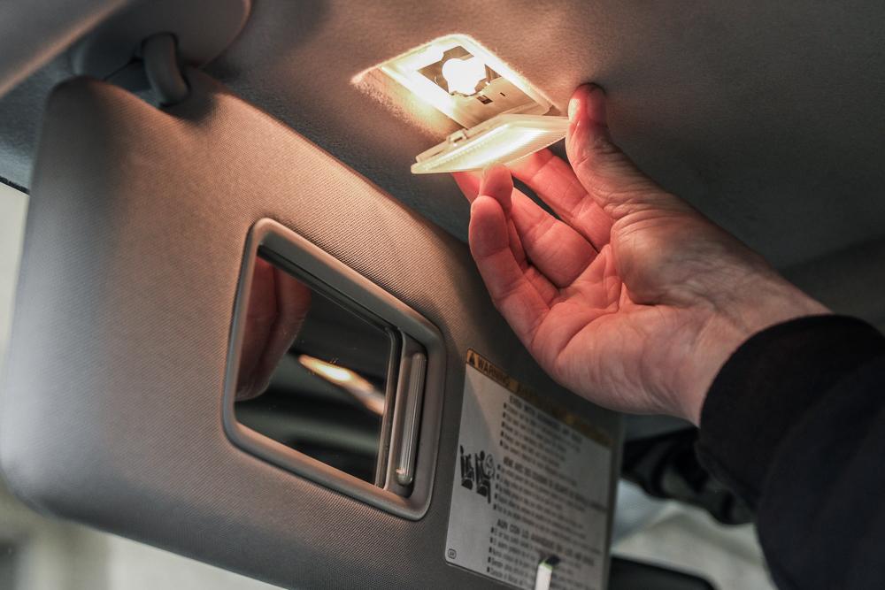 Vanity Visor LED Light Install Step #2 - Remove Light Cover