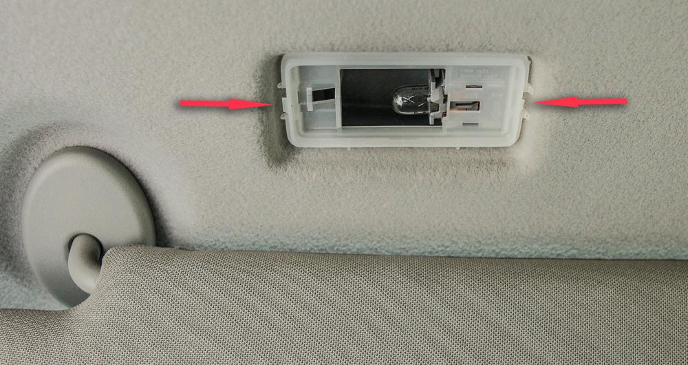 Vanity Visor LED Light Install Step #3 - Note Tabs to pop